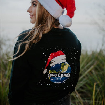 Christmas Planet Long Sleeve (Back Print) 2400 Lands Black S