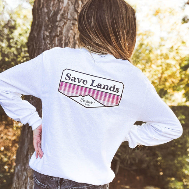 Established 2020 Long Sleeve (Back Print) 2400 Lands S White