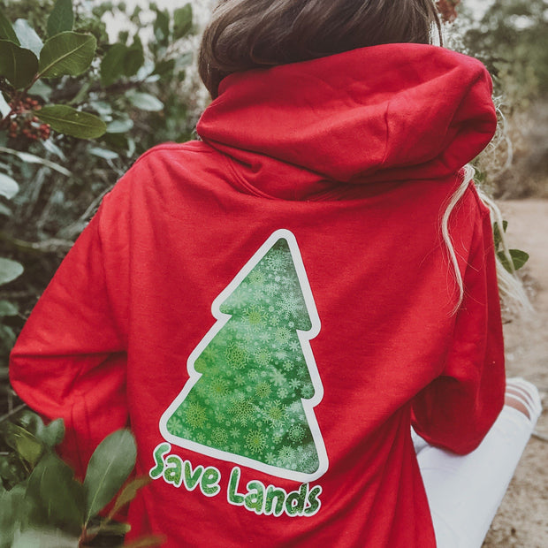Green Tree Hoodie (Back Print) 18500 Lands Red S