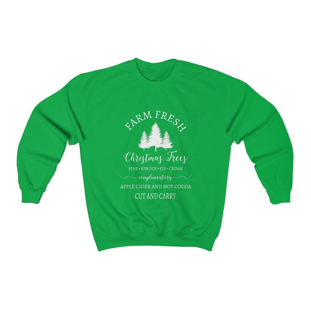 Christmas Tree Crewneck Sweatshirt Sweatshirt Printify Irish Green S