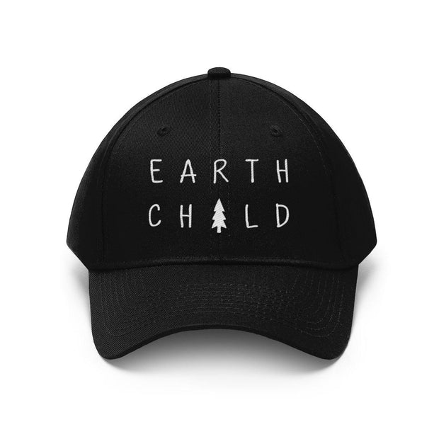 Earth Child Hat (White Text) Hats Printify Black One size