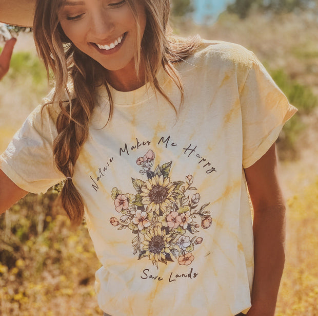 Nature Makes Me Happy Dandelion Tee 1000 SPIDER DANDELION Lands