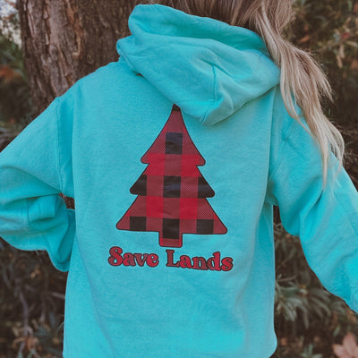 Cool Mint Red Plaid Tree Hoodie (Back Print) 18500 Lands Cool Mint S