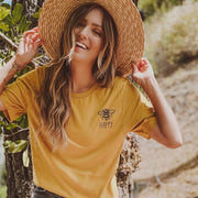 Bee Happy Pocket Tee 3001 Lands