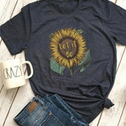 Let it Bee Sunflower Tee T-Shirt Printify Dark Heather L
