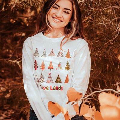 White Tiny Trees Long Sleeve 2400 Lands