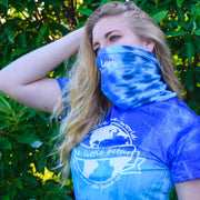 Simple White Badge Ocean Tie Dye Gaiter Face Mask 9411 - BLUE OCEAN Lands