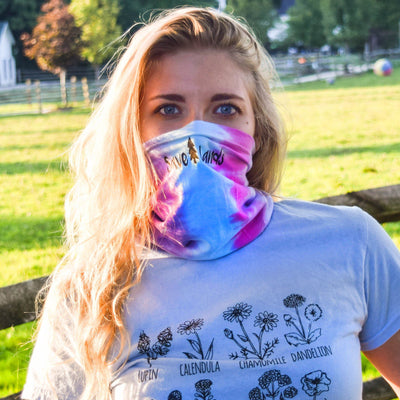 Simple Black Badge Cotton Candy Tie Dye Gaiter Face Mask 9411 - ETERNITY Lands