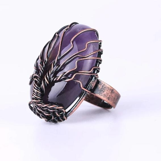Hand Spun Tree Crystal Ring Lands Amethyst