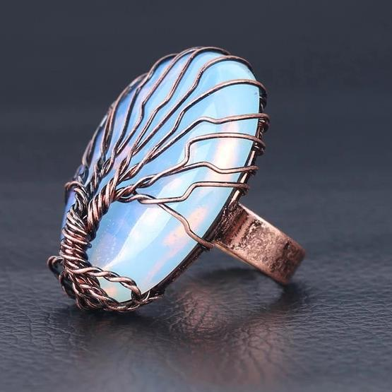 Hand Spun Tree Crystal Ring Lands Opal Stone