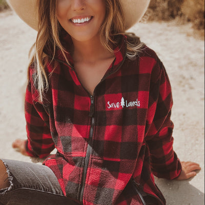 Simple White Logo Red Plaid Fleece Jacket 3061 - RED / BLACK Lands