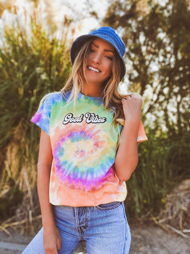 Script Good Vibes Eternity Tie Dye Tee 1000 - ETERNITY Lands