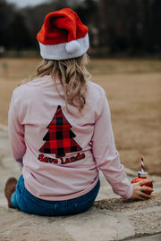 Light Pink Red Plaid Tree Long Sleeve (Back Print) 2400 Lands
