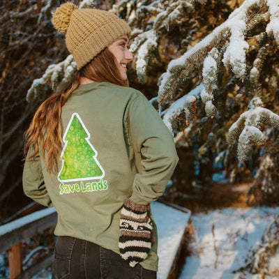 Military Green Green Tree Long Sleeve (Back Print) 2400 Lands