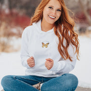 White Centered Pocket Butterfly Hoodie 18500 Lands White S