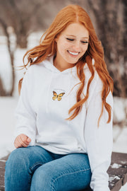 White Centered Pocket Butterfly Hoodie 18500 Lands