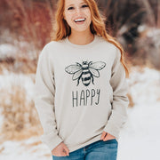 Bee Happy Crewneck 18000 Lands Sand S