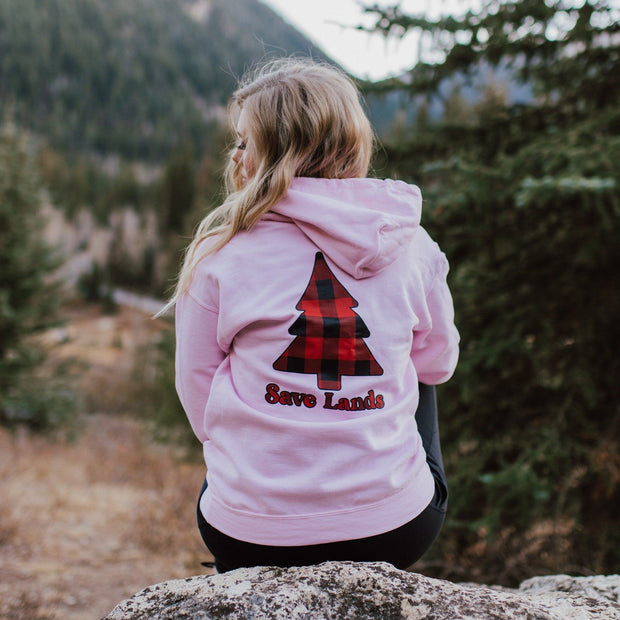 Light Pink Red Plaid Tree Hoodie (Back Print) 18500 Lands Light Pink S