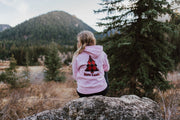 Light Pink Red Plaid Tree Hoodie (Back Print) 18500 Lands