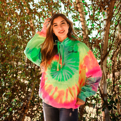 Simple Black Logo Minty Rainbow Tie Dye Hoodie 8777 - MINTY RAINBOW Lands