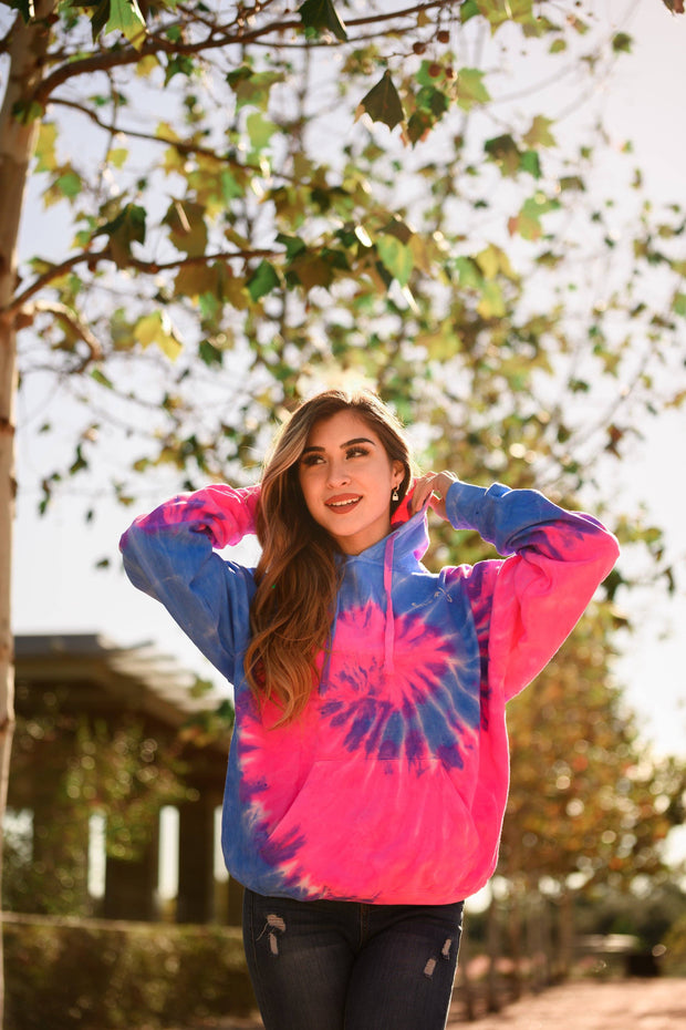 Simple White Logo Flo Blue & Pink Tie Dye Hoodie 8777 - FLO BLUE AND PINK Lands