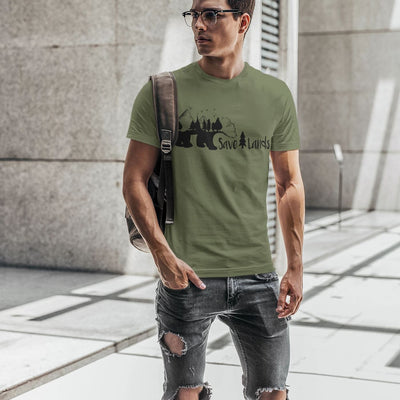 Men's Tree Bear Tee T-Shirt Printify Military Green S