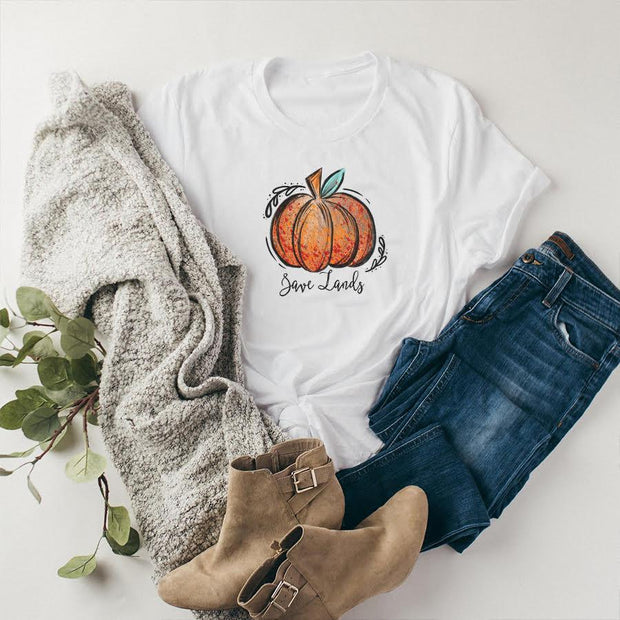 Save Lands Pumpkin Tee 5000 Lands White S