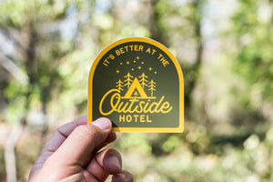 Outside Hotel Camping Vinyl Sticker