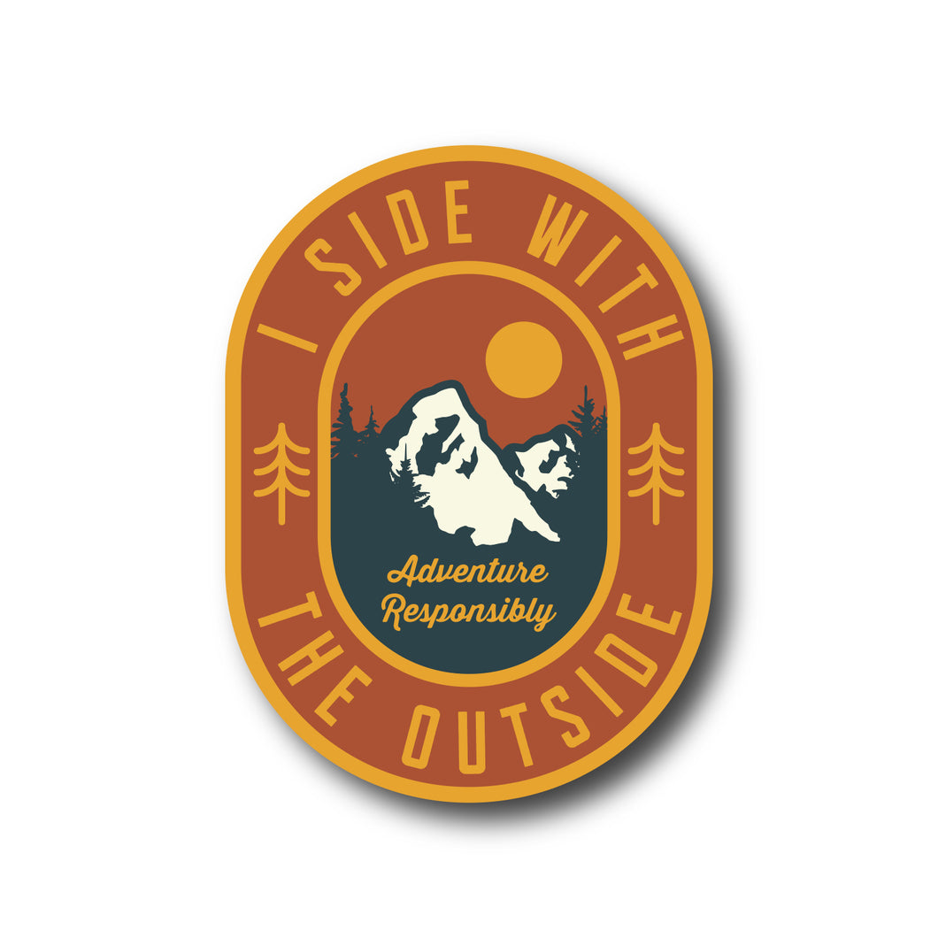I Side With The Outside Mountain Outdoor Awareness Vinyl Sticker
