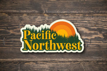 Load image into Gallery viewer, Pacific Northwest Retro Sun Oregon Washington Vinyl Sticker