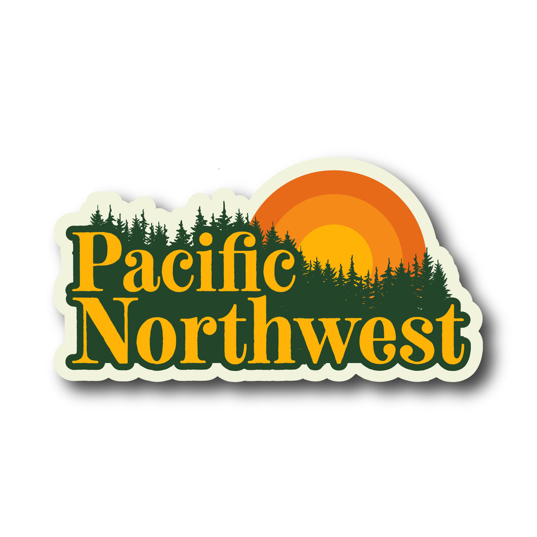 Pacific Northwest Retro Sun Oregon Washington Vinyl Sticker