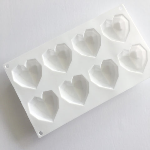 Heart Silicone Mould, 8 Faceted