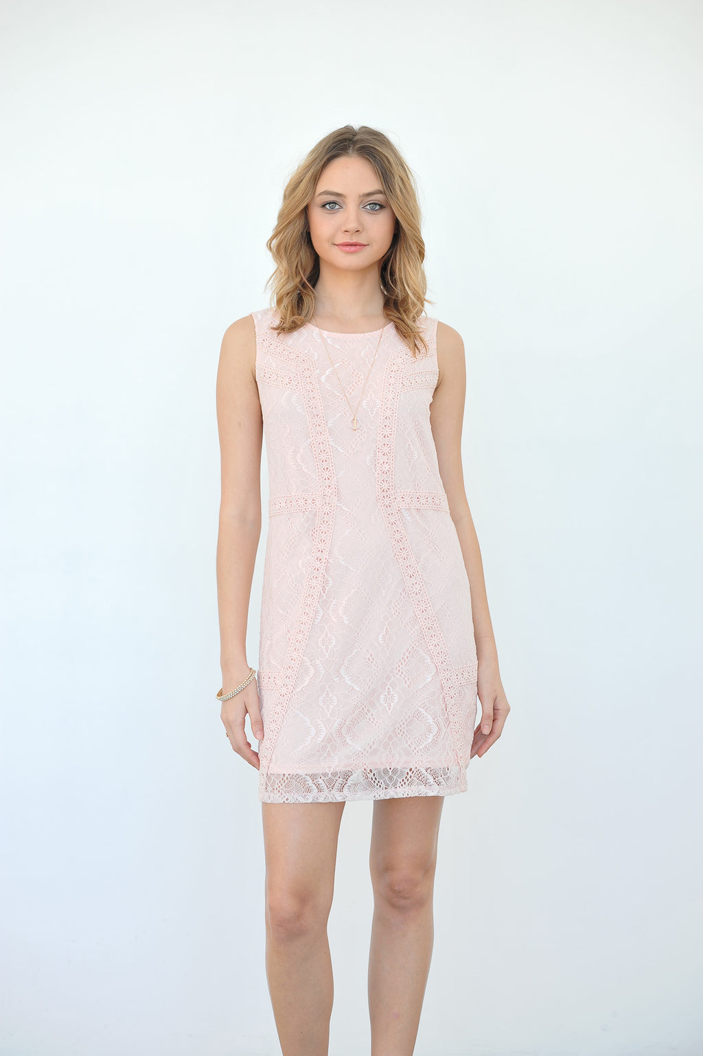 Sleeveless Lace Mini Dress with Crochet Detail