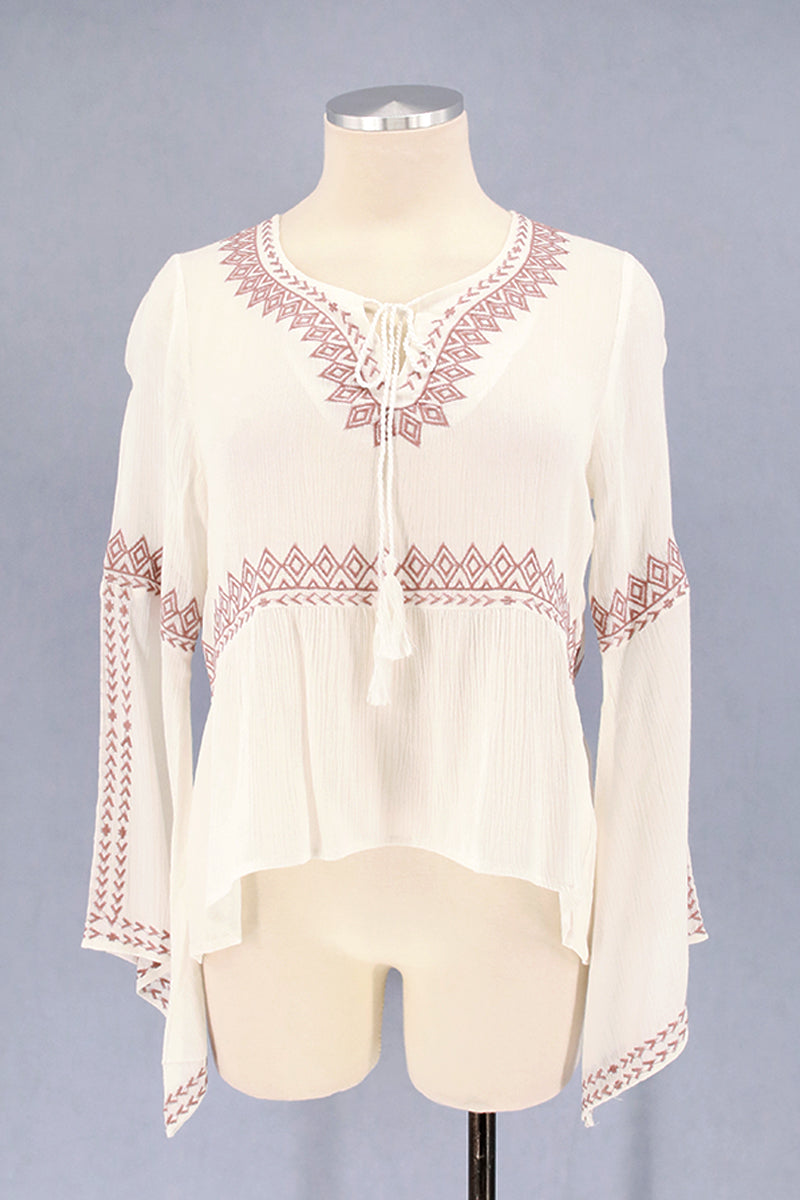 Tribal Embroidery Bell Sleeve Top