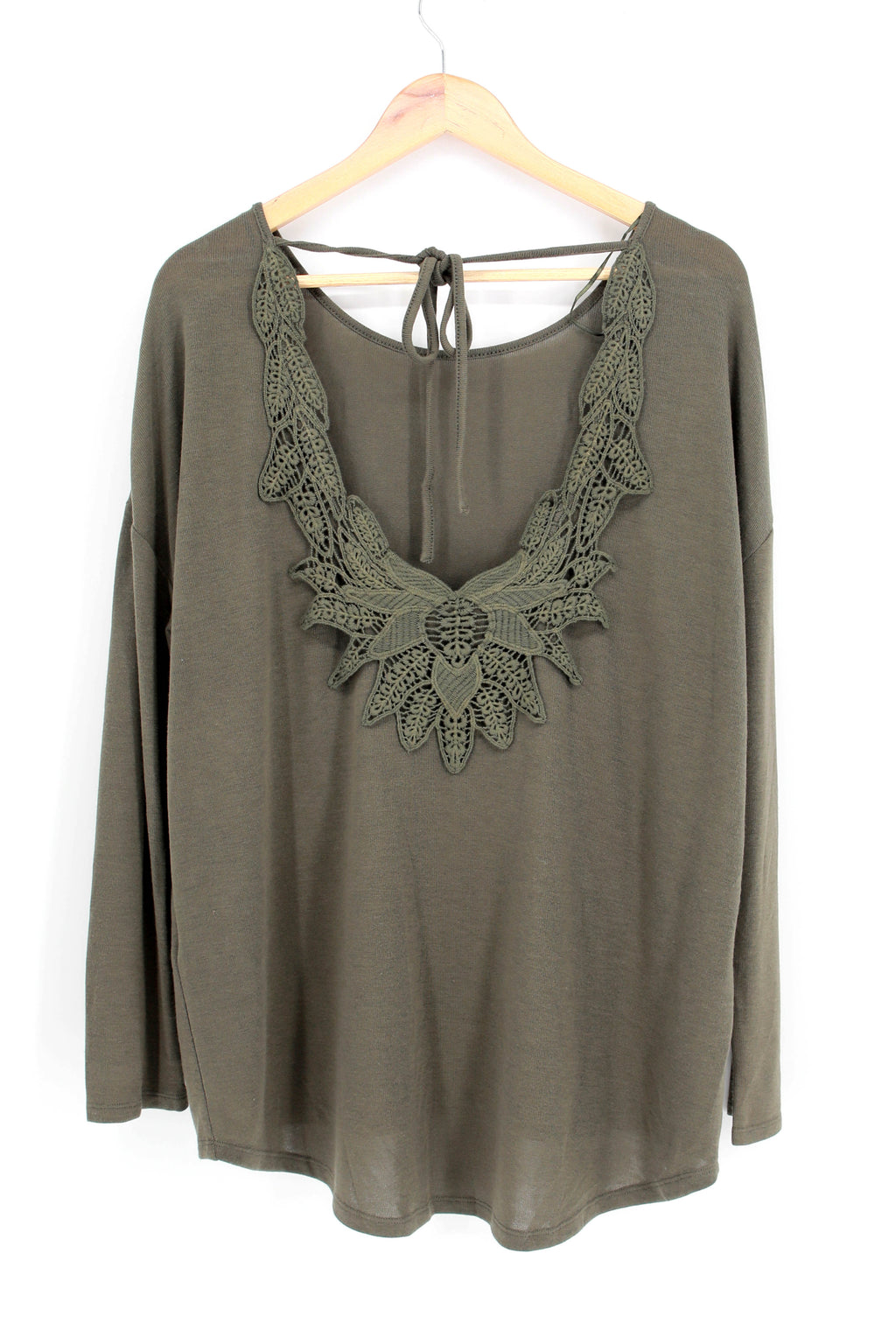 Dolman Sleeve Top with Embroidered Back Detail
