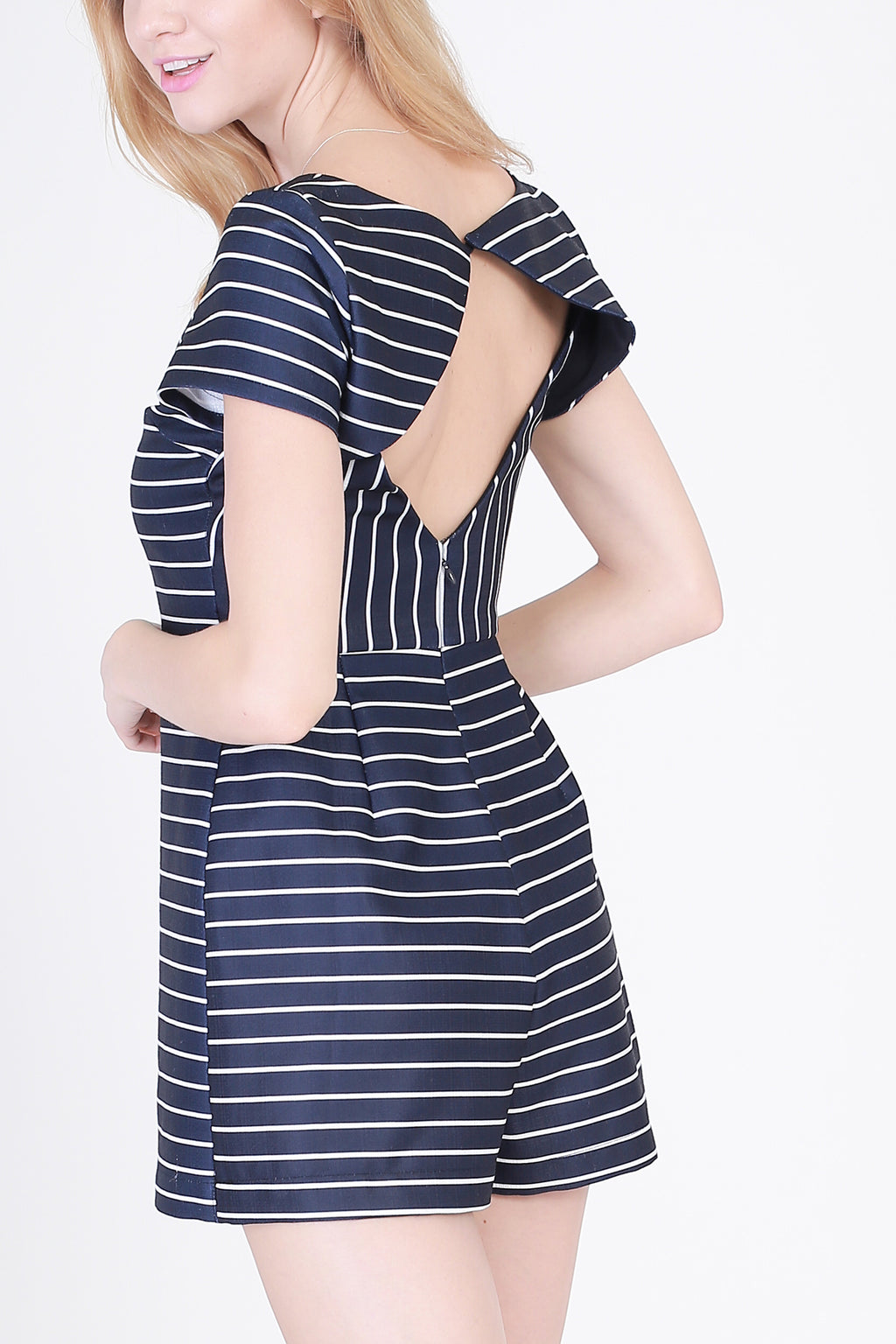 Open Back Stripe Skirt Romper