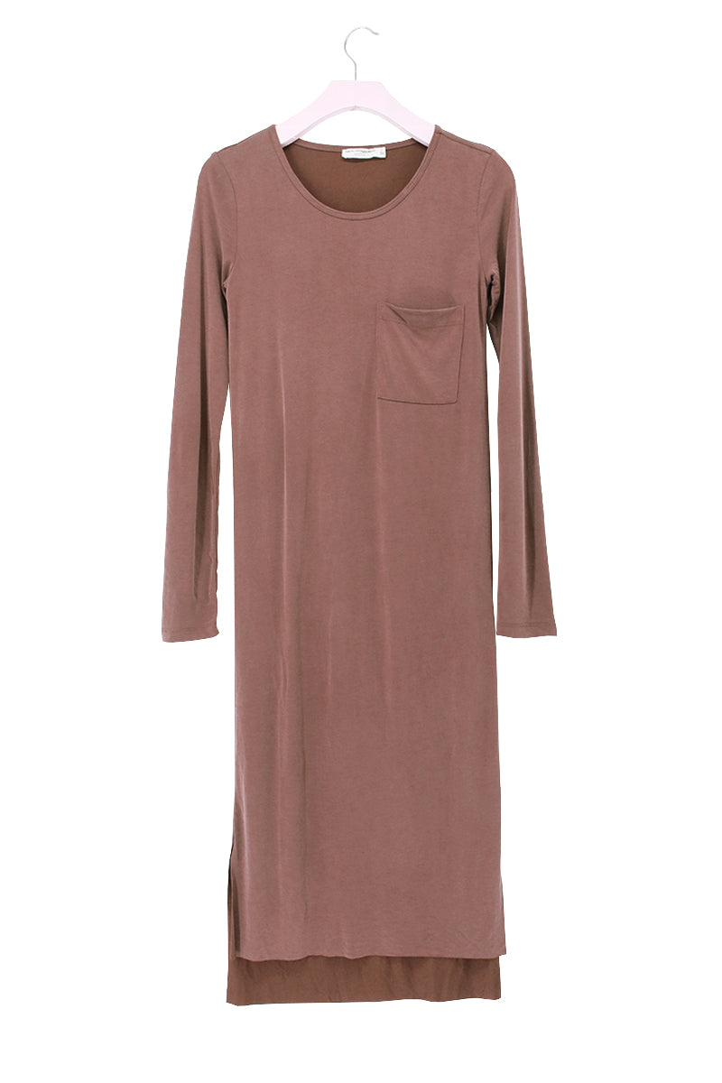 Long Sleeve Side Slits Dress with Pocket