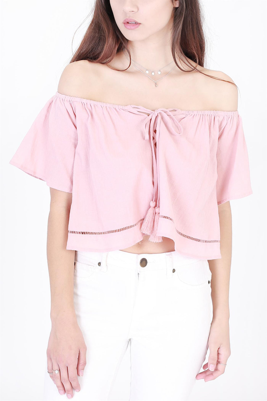 Off Shoulder Crop Top with Drawstring Front