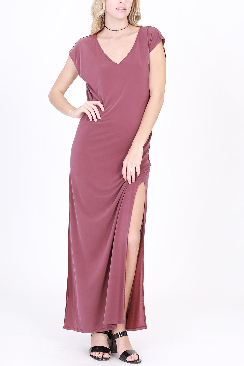 V Neck Modal Maxi Dress with Side Slit