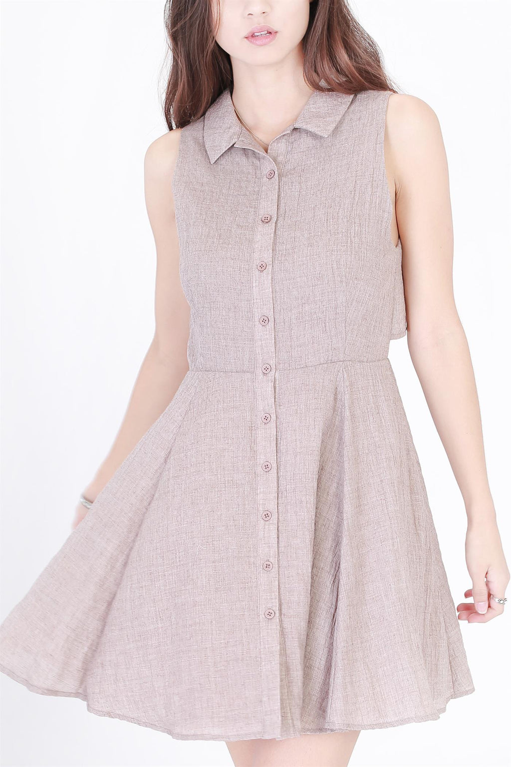 Sleeveless Button Down Frock Dress