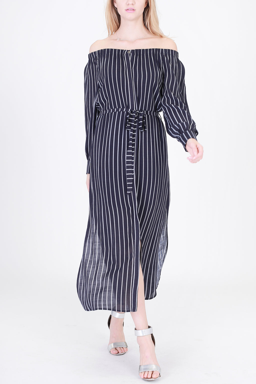 Off Shoulder Stripe Dress with Side Slit