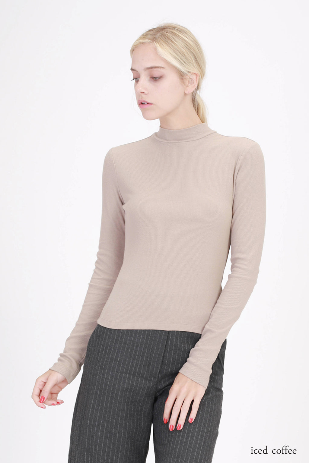 Ribbed Mock Neck Long Sleeve Top