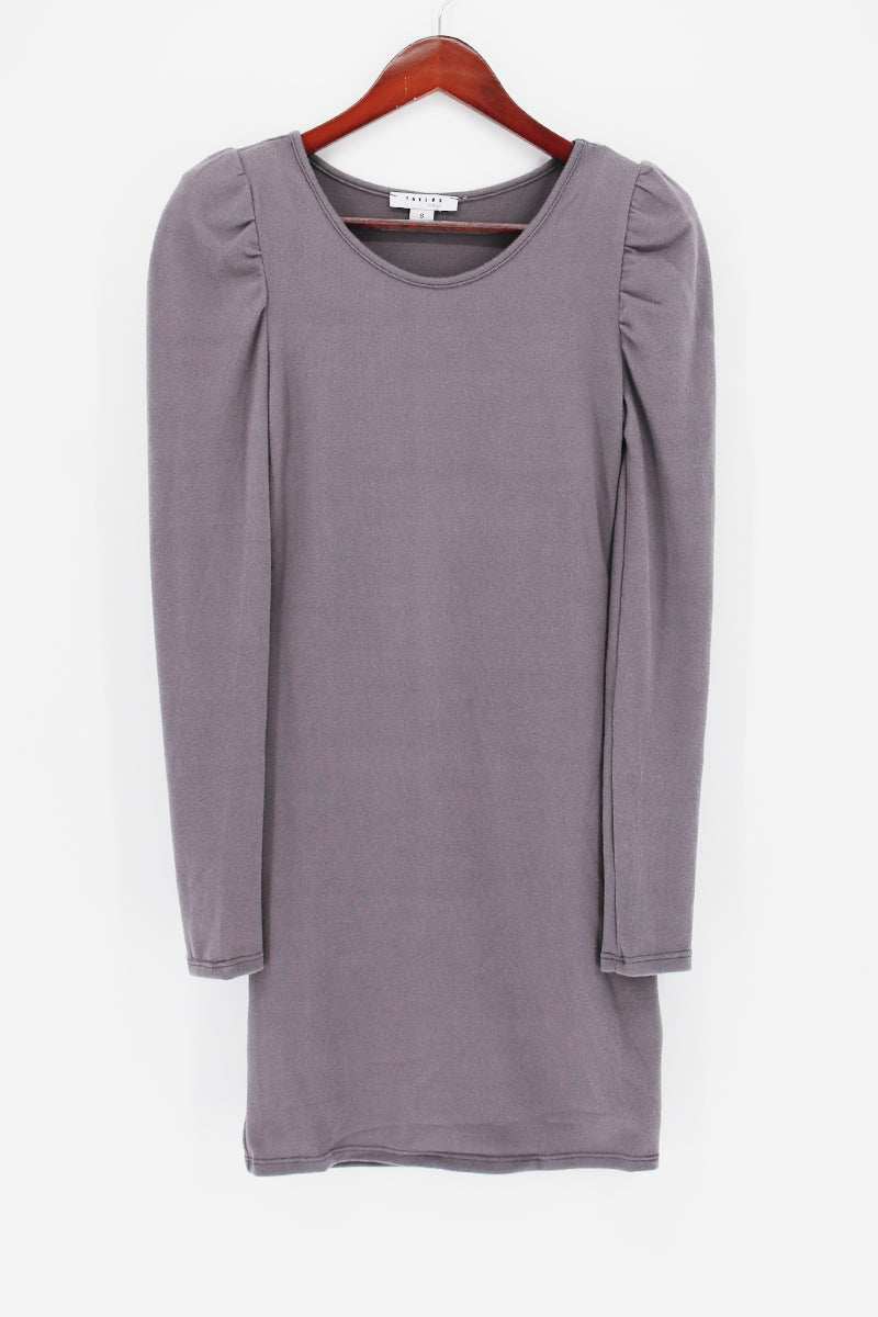 Puff Sleeve V Neck Tunic Dress