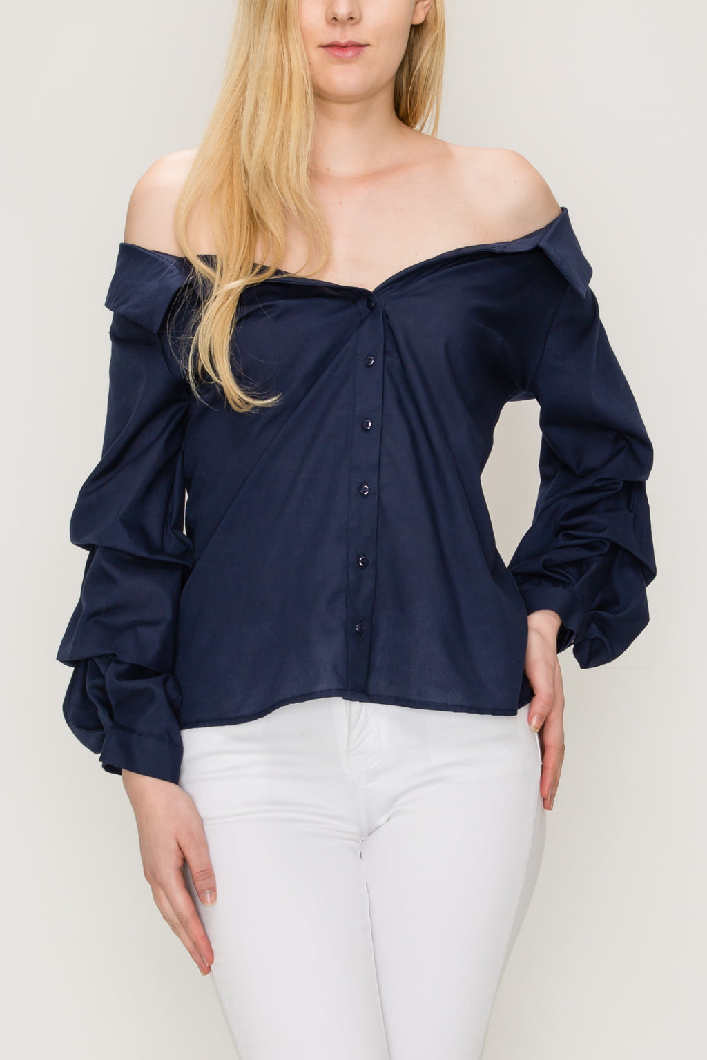 Off Shoulder Button Down Ruffle Sleeve Shirt