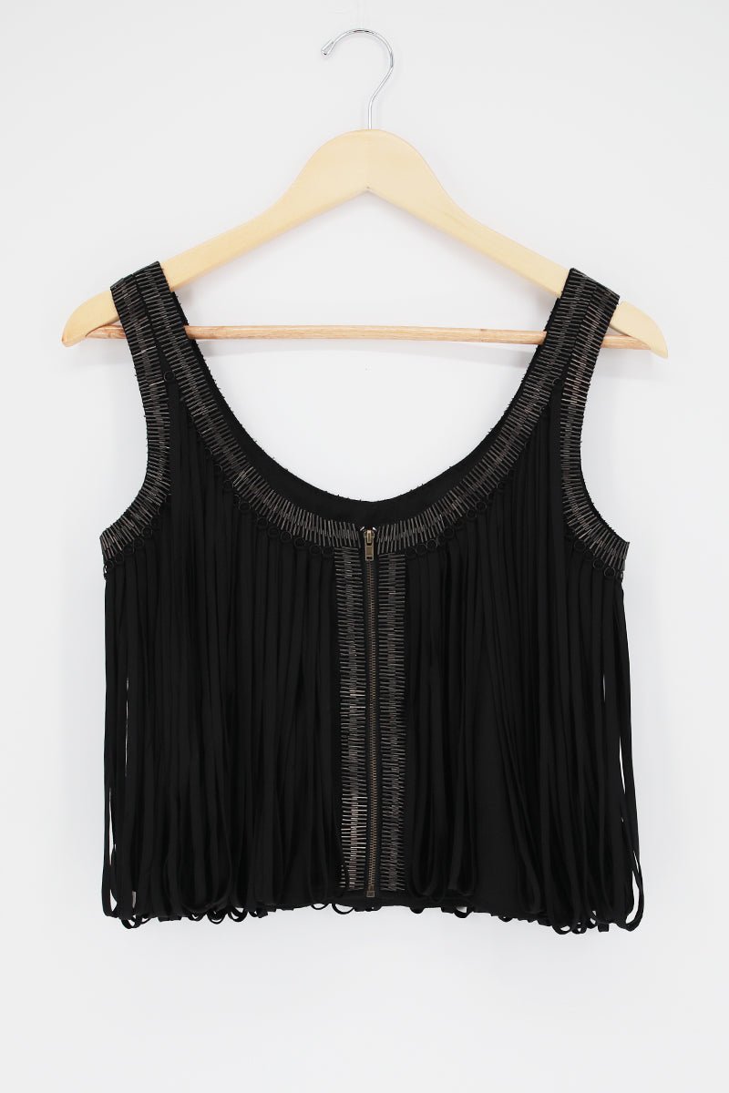 MLV Holy Leather Fringe Sleeveless Top