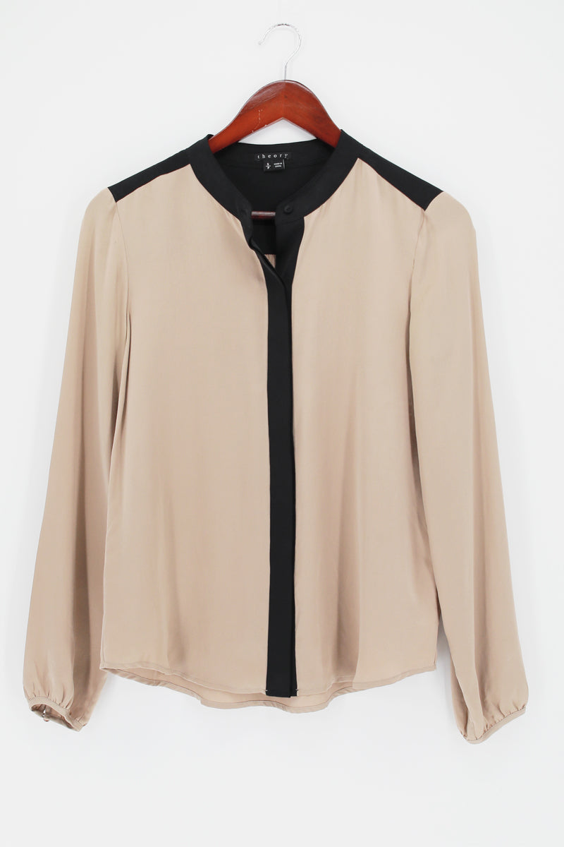 THEORY Ivory With Black Border Gerine Cicero Button-down Top