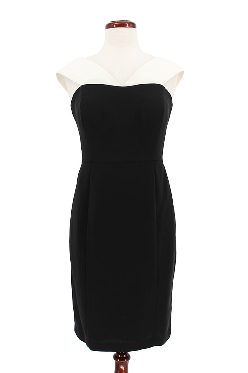 Calvin Klein Off Shoulder Crepe Contrast Cocktail Dress