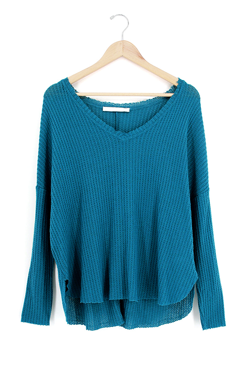 Fleece V-Neck Dolman Sleeve Top