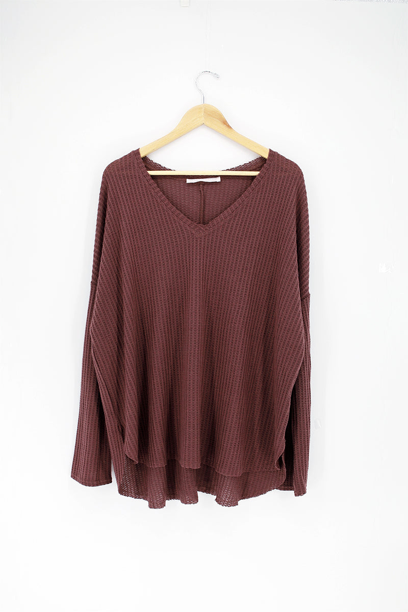 Plus Fleece V-Neck Dolman Sleeve Top