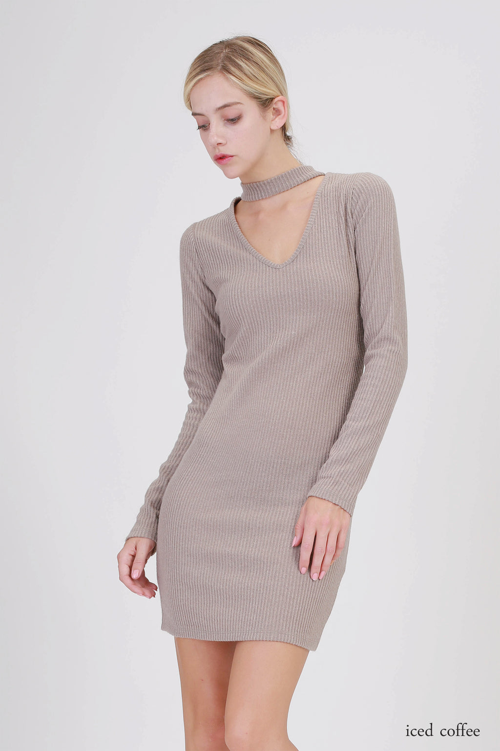 Choker Neck Long Sleeve Dress